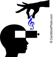 lessen, verstand, persoon, muziek, downloaden, open, of