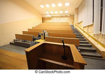 lessenaar, universiteit, microfoon, groot, hall;, lezing,...