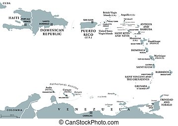 Lesser Antilles political map