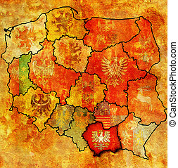 lesser poland region on administration map of poland with...