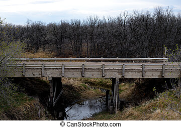 Lesser used wooden bridge over a creek