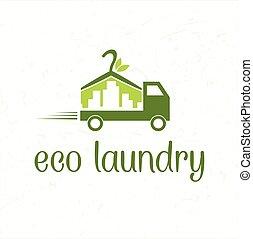lessive, eco, voiture, résumé, livraison, icône
