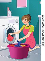 lessive, femme foyer