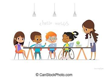 lesson., ילדה, כיסא גלגלים, ללמוד, בית ספר, informatics, חינוך, ילדים, מחשבי נייד, וקטור, advertisement., אתר אינטרנט, דוגמה, במשך, לשבת, אחר, כולל הכל, concept., הסמלה, נכה