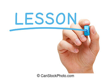 Hand writing Lesson with blue marker on transparent wipe board.