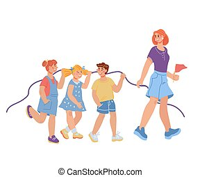 Lesson in kindergarten or primary school scene with children and teacher cartoon characters.