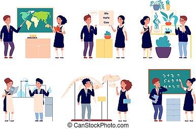lesson., komplet, mądry, szkoła, badając, geografia, szczęśliwy, dzieciaki, etiuda, chemia, dziewczyna, chłopiec, rysunek, uniform., wektor, studenci, dzieci, eksperyment