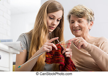 Lesson of a knitting with grandma