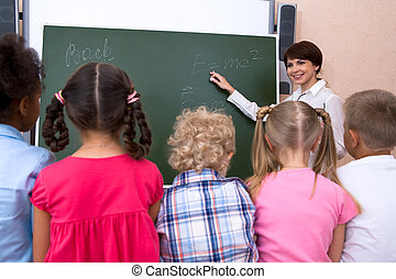 Lesson - Rear view of pupils listening their teacher during...