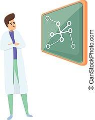 Lesson scientist icon, cartoon style
