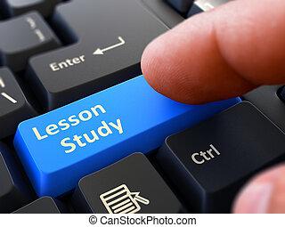 Lesson Study Concept. Person Click Keyboard Button.