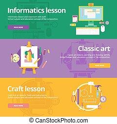 lessons., płaski, komplet, klasyk, materials., kunszt, projektować, pojęcia sieći, druk, informatics, chorągwie, wykształcenie, sztuka