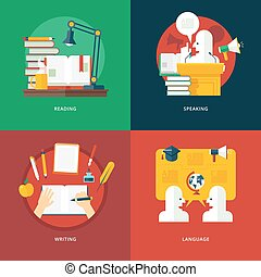 lessons., plat, set, kennis, taal, het spreken, lezende , illustratie, schrijvende , ideas., retorica, ontwerp, concepten, eloquence, opleiding, art.