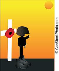 lest, nós, soldiers.., caído, forget...