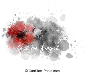 Lest we forget - abstract poppy - Abstract gray watercolor ...