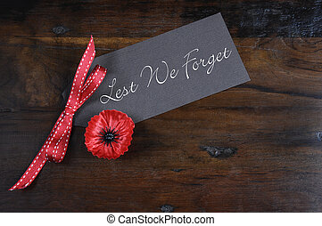 Lest We Forget, Red Flanders Poppy Lapel Pin Badge for...