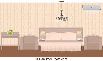 leste, quarto hotel, interior, com, mobília, lustre, condicionador ar