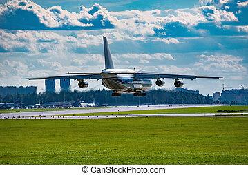 leszállás, közül, a, nagy, rakomány, airliner.