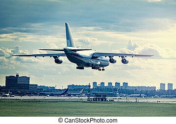 leszállás, közül, nagy, rakomány, airliner.