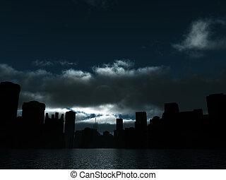 leszállt, város, holdfény, víz felület, sötét