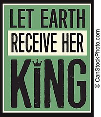 Let Earth Receive Her King Retro Christian Christmas Card Poster