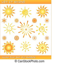 Vector sun symbols in different styles. Use of global color swatches, linear and radial gradients. Sinlge icons are grouped.