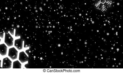 Snow flakes, large and small, fall against a black background. Seamless loop.