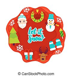 Let it Snow Papercut. Vector Illustration. Merry Christmas.