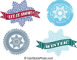 Let it snow winter rubber stamp style graphics.