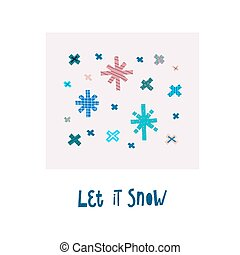 Let it snow winter Christmas snowflake season card