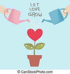 Let love grow - Couple let love grow in a pot watered from a...