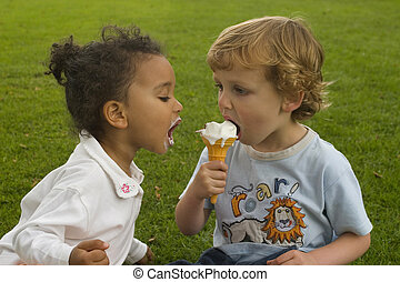 Let Me Have Some - Two young children sharing an ice cream,...