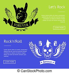 Let s Rock n Roll Collection of Colorful Banners