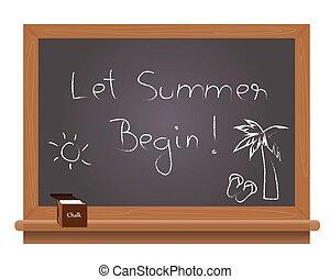 Let summer begin text on a school b