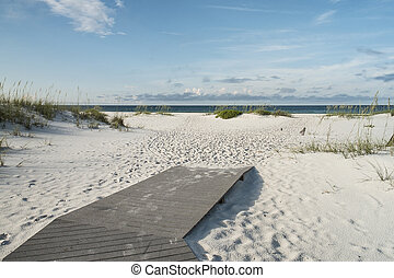 Let the Beach Vacation Begin - Beach boardwalk footpath...