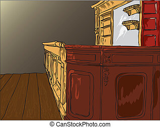 Picture of an old saloon bar with a mirror and with empty shelves.