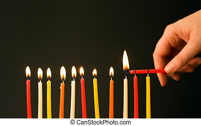 Let the party begins! Burning the birthday candles. Focus on the row of candles