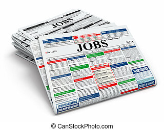 leta, job., tidningar, med, advertisments.