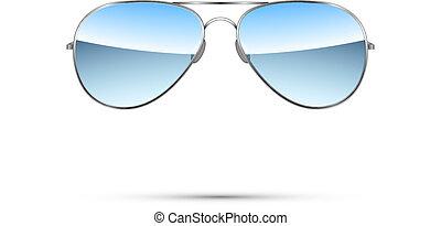 letec, vektor, brýle proti slunci, osamocený, white.
