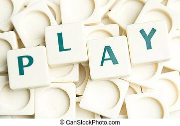 leter, játék, elkészített, Szó, darabok