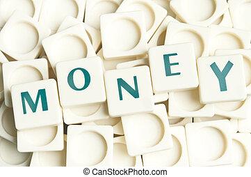 leter, pénz, elkészített, Szó, darabok