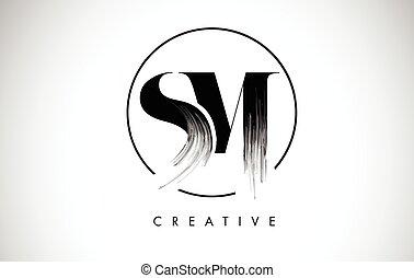 leters, lettre, peinture, coup, noir, brosse, sm, logo,...
