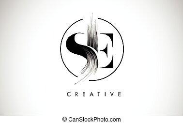 leters, peinture, coup, noir, brosse, lettre, logo, icon., design.