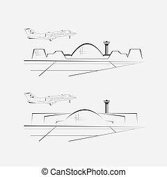 letiště, stavení., konec, architektura