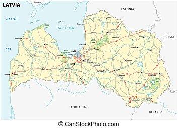 letland, straat, en, nationaal park, kaart