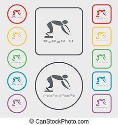 letni sport, skwer, frame., poznaczcie., symbol, pikolak, wektor, nurkowanie, okrągły, ikona
