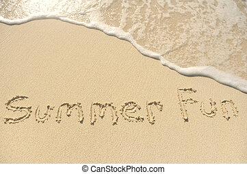 letnia zabawa, pisemny, w, piasek, na, plaża