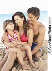 letnie święto, plaża, rodzinny portret