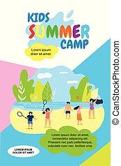 letnie dzieciska, obóz, ilustracja, holidays., wektor