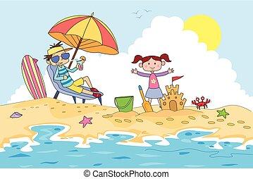 letnie dzieciska, obóz, piasek, zrobienie, zamek